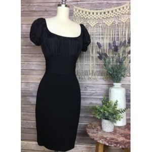 Black Short Sleeve Fitted Bodycon Cocktail Dress